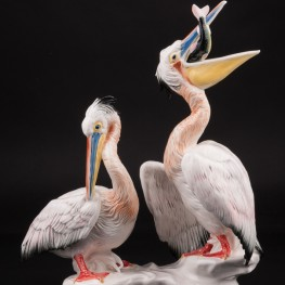 Фигурка птиц из фарфора Два пеликана, Karl Ens, Германия.