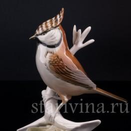 Фарфорвая статуэтка птицы Хохлатая синица, Karl Ens, Германия, вт. пол. 20 в.