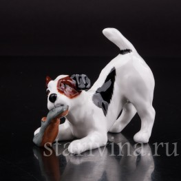 Фарфоровая статуэтка собаки Джек рассел с туфлей, Royal Doulton, Великобритания, вт пол. 20 века.